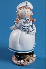 """7"""" SAILOR GIRL W/BOAT BLUE/WHITE"""