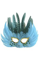 "10"" FEATHER MASK TURQUOISE/GREEN"