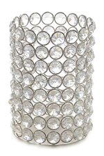 """4"""" X 5.75"""" CRYSTAL BEAD CYLINDER CANDLE HOLDER SILVER"""