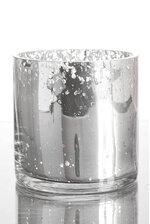 "4"" X 4"" MERCURY GLASS CYLINDER VASE SILVER"
