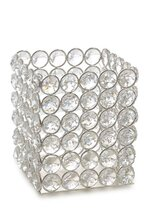 """3.5"""" X 3.5"""" X 4.25"""" CRYSTAL BEAD CANDLE HOLDER SILVER"""