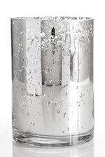 "4"" X 6"" MERCURY GLASS CYLINDER VASE SILVER"