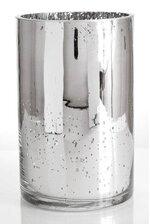 "5"" X 8"" MERCURY GLASS CYLINDER VASE SILVER"