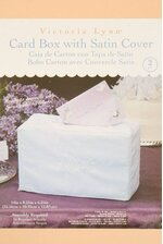 "14"" X 8"" X 6"" CARD BOX W/SATIN COVER WHITE"