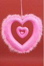 """16"""" HANGING OPEN HEART W/FEATHERS PINK"""
