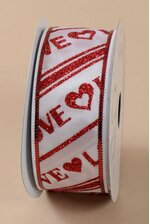 """1.5"""" X 10YDS WIRED ENDLESS LOVE RIBBON RED/WHITE"""