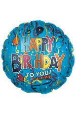 "18"" HAPPY BIRTHDAY FOIL BALLOON BLUE/MULTICOLOR PKG/10"