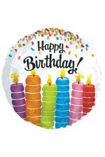 "18"" ROUND FOIL BALLOON BIRTHDAY COLORFUL CANDLES PKG/10"