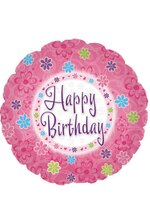 "18"" ROUND FOIL BALLOON HAPPY BIRTHDAY PINK PKG/10"