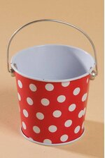 "3"" X 3.25"" METAL BUCKET W/DOTS RED/WHITE"