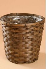 """9.5"""" X 10"""" STAINED BAMBOO PLANTER BROWN"""