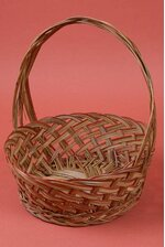 """13"""" ROUND COCO LACQUERED BASKET W/HANDLE BROWN"""