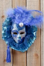 "4"" DECORATIVE HANGING MASK W/FEATHER & TASSEL BLUE"