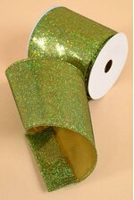 "4"" X 10YDS GLITTER WIRED RIBBON GREEN"