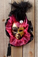 "4"" DECORATIVE HANGING MASK W/FEATHER & TASSEL BLACK/PINK"