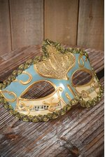 "4"" X 6.5"" HALF MASK W/COPPER PAINTING LIGHT BLUE"