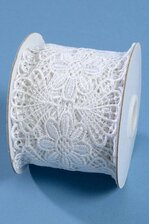 """2.5"""" X 5YDS EMBROIDERY LACE RIBBON WHITE"""