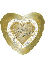 "18"" HEART SHAPED FOIL BALLOON ANNIVERSARY GOLD/SILVER PKG/10"