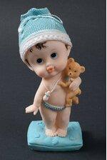 """9.5"""" CERAMIC BABY BOY W/TEDDY BEAR BLUE"""