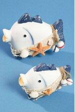 "4.5""/6"" WOODEN FISH NAVY/WHITE SET/2"