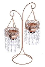 """15.75"""" BEAD HANGING CANDLE HOLDER STAND GOLD/CLEAR"""