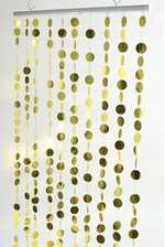 "71"" X  35.5"" ""SPANGLES"" BEADED CIRCLES CURTAIN GOLD"