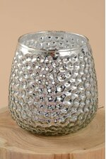 "3"" X 4"" MERCURY GLASS CANDLE HOLDER SILVER"