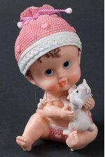 "6.5"" CERAMIC BABY GIRL W/KITTEN PINK"