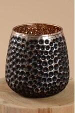 "3"" X 4"" MERCURY GLASS CANDLE HOLDER BLACK/GOLD"