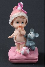 """4.5"""" CERAMIC BABY GIRL W/MOUSE PINK"""