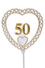 50 HEART SIGN W/STICK GOLD/WHITE PKG/12