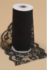 "6"" X 10YDS LACE RIBBON BLACK"