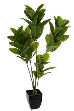 4FT REAL TOUCH RUBBER LEAF IN POT GREEN