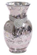 "9"" ROUND MERCURY FLOWER GLASS VASE W/MEDAL PINK"