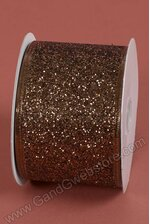 """2.5"""" X 10YDS GLITTER LAME WIRED RIBBON CHOCOLATE"""