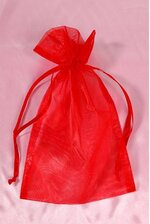 6'' X 10'' ORGANZA POUCHES RED PKG/12