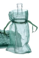 "6"" X 10"" ORGANZA POUCHES BAGS HUNTER GREEN PKG/12"