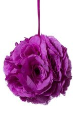 "8"" ROSE BALL W/RIBBON PURPLE"