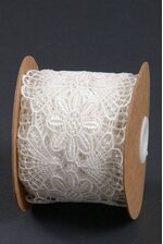 """3"""" X 5YDS FLORAL EMBROIDERY LACE RIBBON IVORY"""