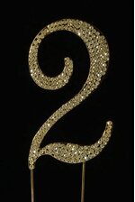 "4.5"" RHINESTONE NUMBER ""2"" CAKE TOPPER GOLD"