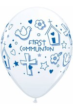 "11"" ROUND LATEX BALLOON FIRST COMMUNION SYMBOLS WHITE/BLUE PKG/50"