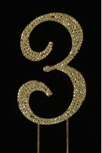 "4.5"" RHINESTONE NUMBER ""3"" CAKE TOPPER GOLD"