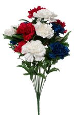 "18"" SILK CARNATION BUSH RED/WHITE & BLUE"