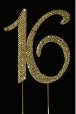 "4.5"" RHINESTONE NUMBER ""16"" CAKE TOPPER GOLD"