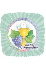 """18"""" SQUARE FIRST HOLY COMMUNION BALLOON PKG/10"""