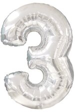 "42"" NUMBER THREE SHAPE-A-LOON SILVER"