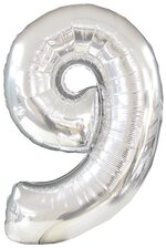 "42"" NUMBER NINE SHAPE-A-LOON SILVER"