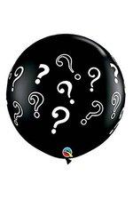 3FT ROUND QUESTION MARKS LATEX BALLOON ONYX BLACK PKG/2