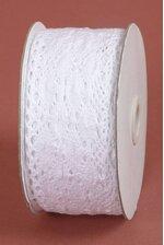 "2-1/3"" X 10YDS CROCHET RIBBON WHITE"