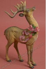"15"" RESIN STANDING XMAS DEER BROWN/RED"